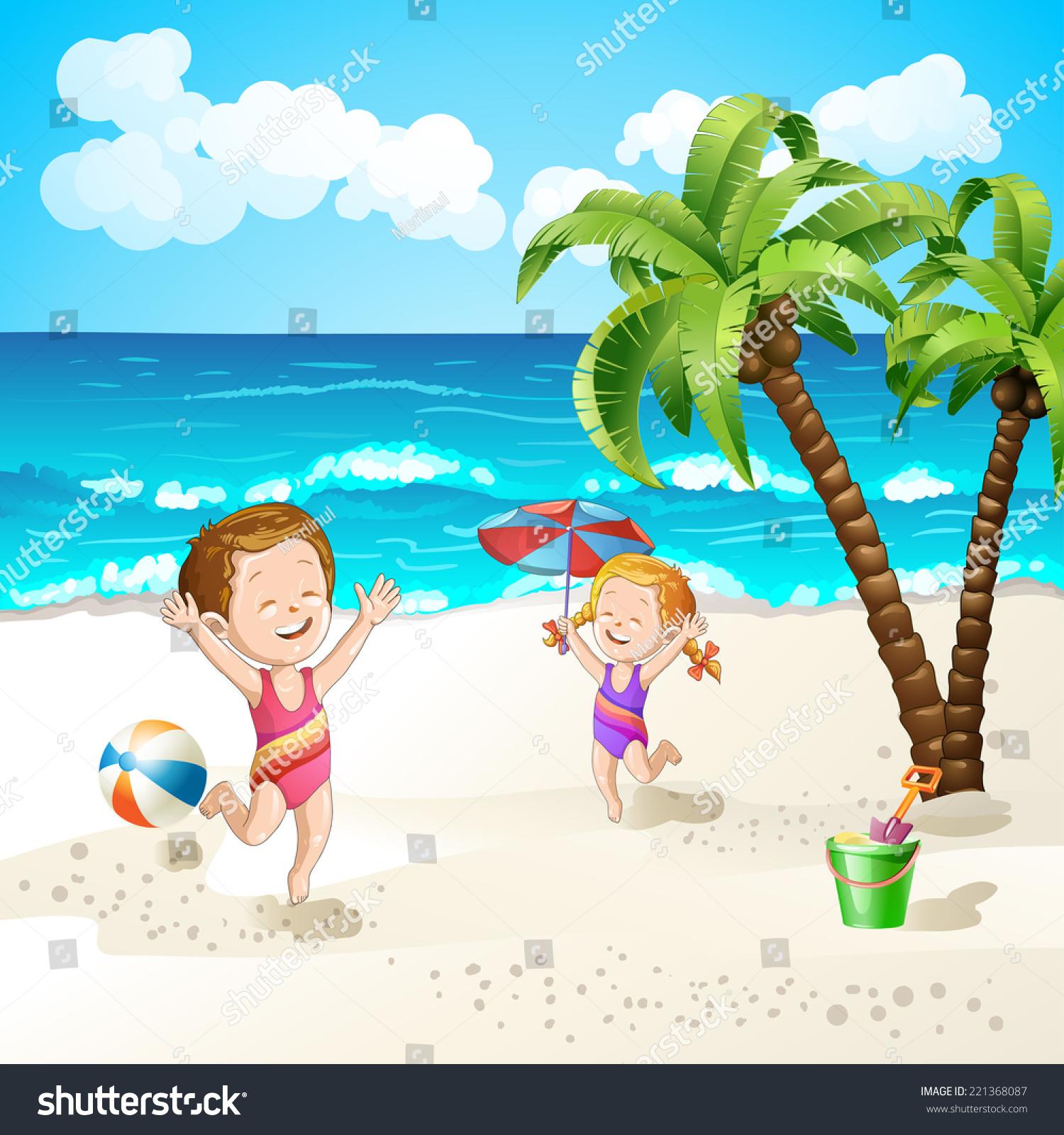 夏日沙滩主题简笔画