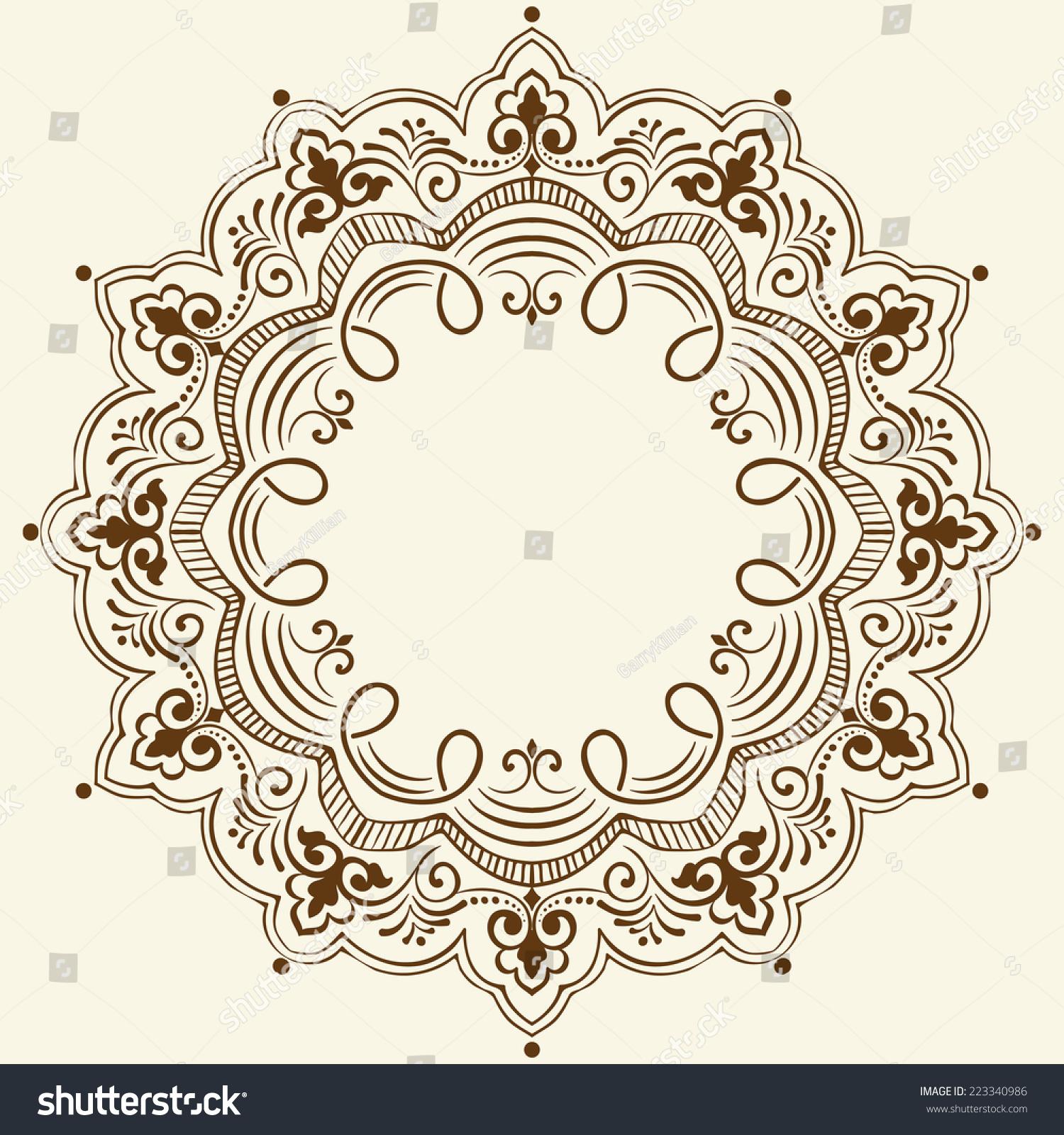 装饰花边矢量圆绫和奇异元素.手绘.东方传统装饰
