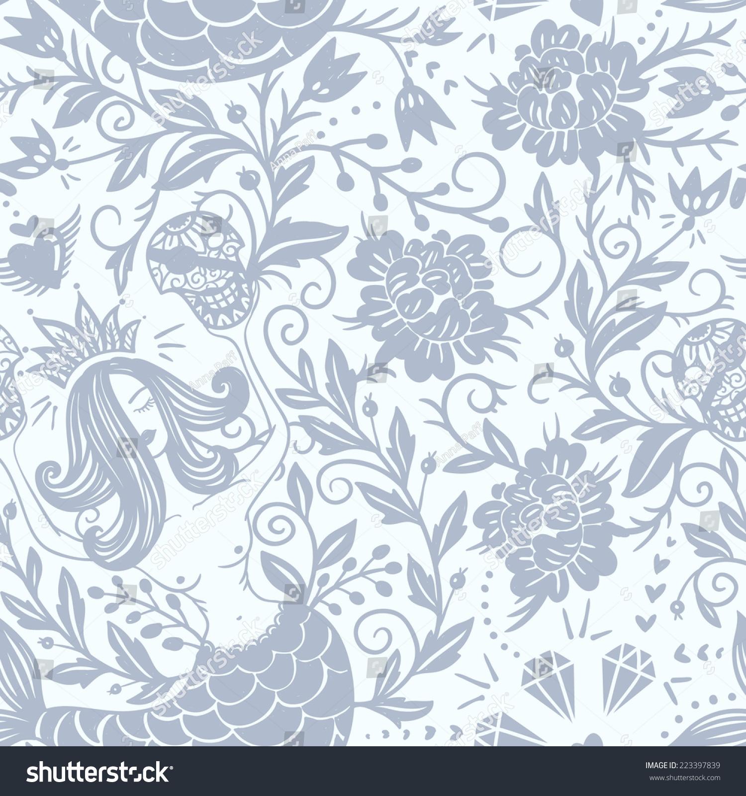 向量无缝模式用鲜花和美人鱼-背景/素材,复古风格-()