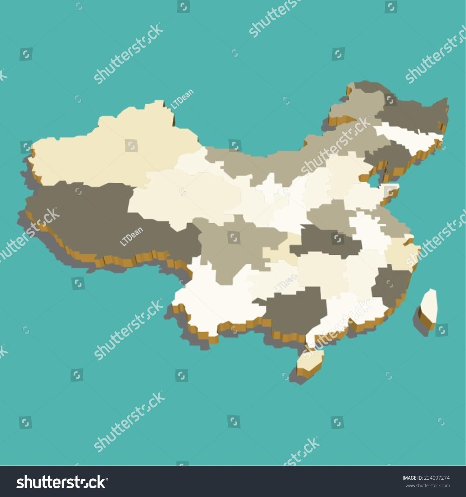 中国地图三维向量-自然