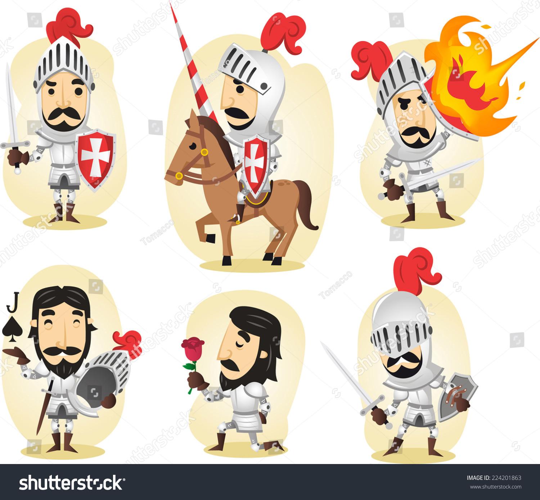 中世纪的骑士卡通插图-人物,复古风格-海洛创意()-合.