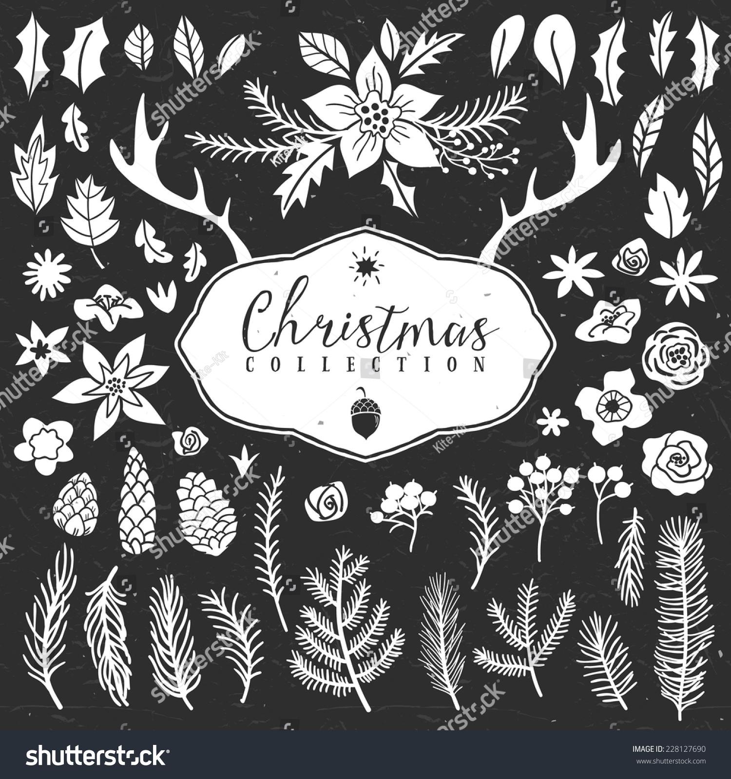 圣诞节募捐.手绘插图.设计元素.-物体