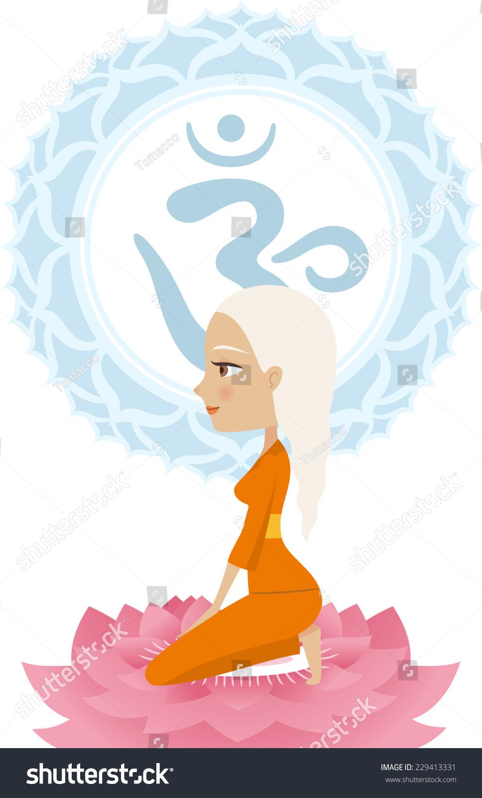 沉思冥想体式瑜伽姿势与曼荼罗om符号向量插图.
