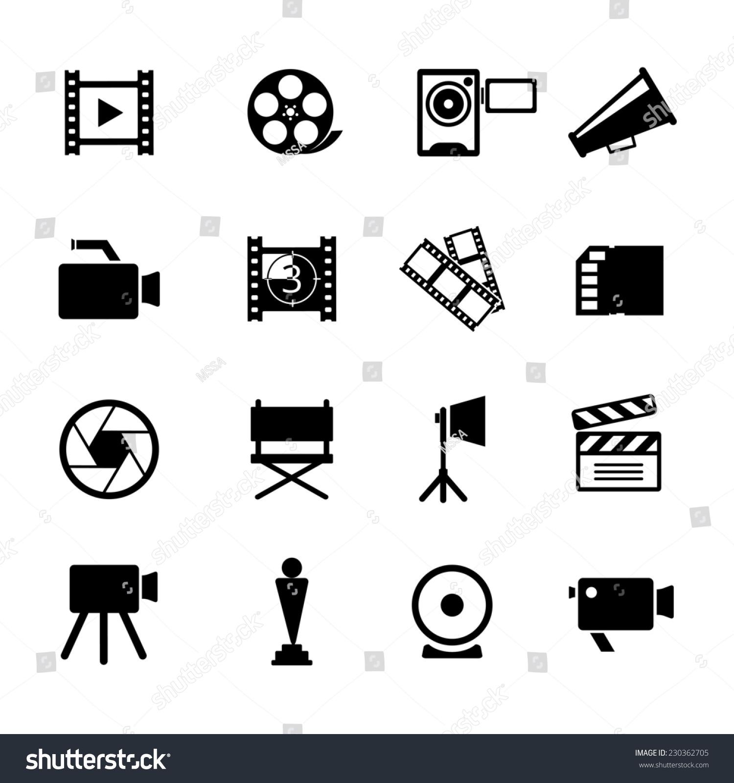 各种简单黑白视频图标图形设计.-艺术,符号/标志-海洛