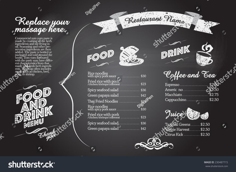 餐厅的食品菜单设计与黑板背景-食品及饮料,艺术-海洛图片