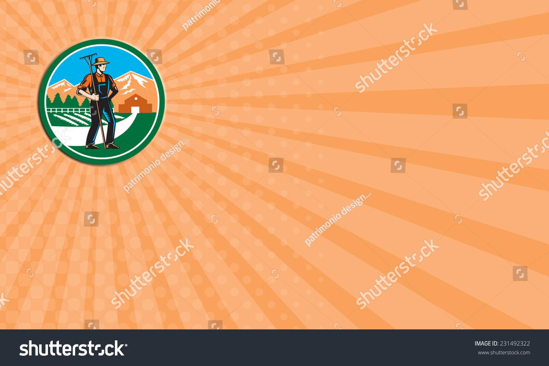 名片显示插图的有机农民耙面临一边套内圆山树房子农场谷仓在后台完成的复古木刻风格。-工业,人物-海洛创意(HelloRF)-Shutterstock中国独家合作伙伴-正版素材在线交易平台-站酷旗下品牌