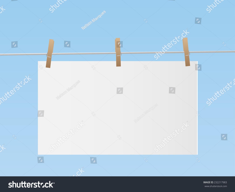 插图的标志挂在蓝色的天空背景下从晾衣绳.-物体,符号