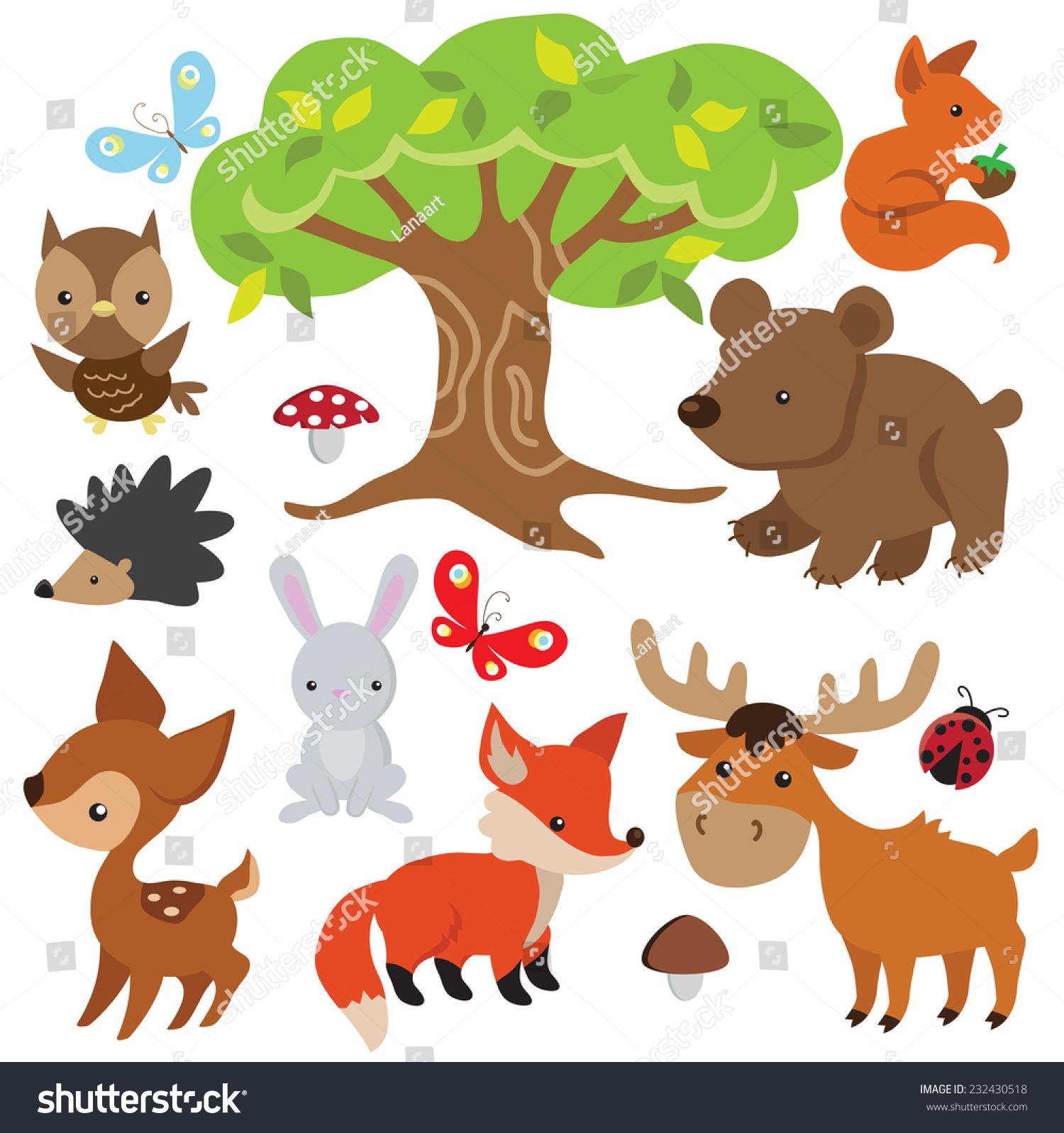 森林动物载体插图-动物/野生生物-海洛创意(hellorf)