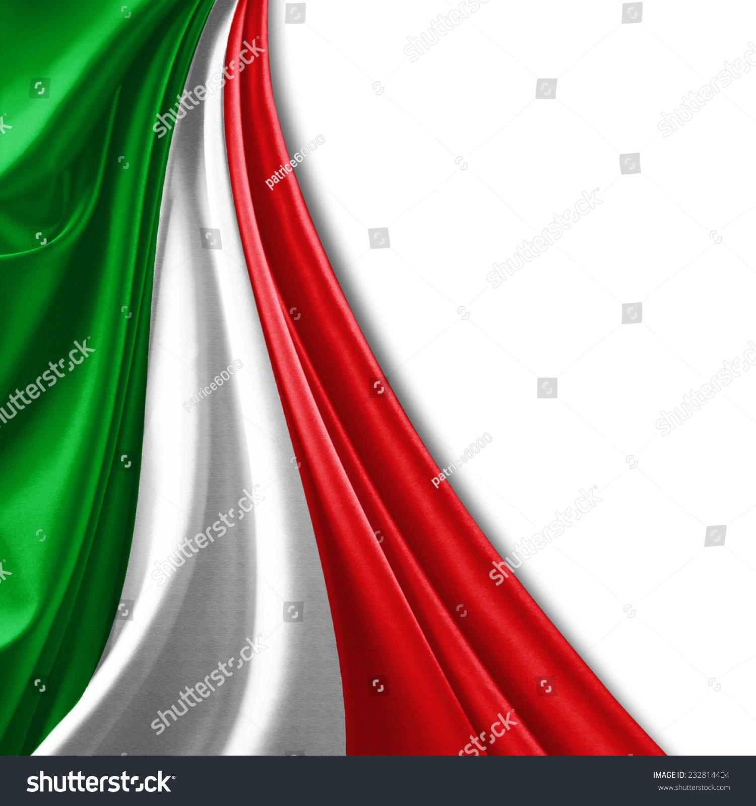 意大利国旗和白色背景