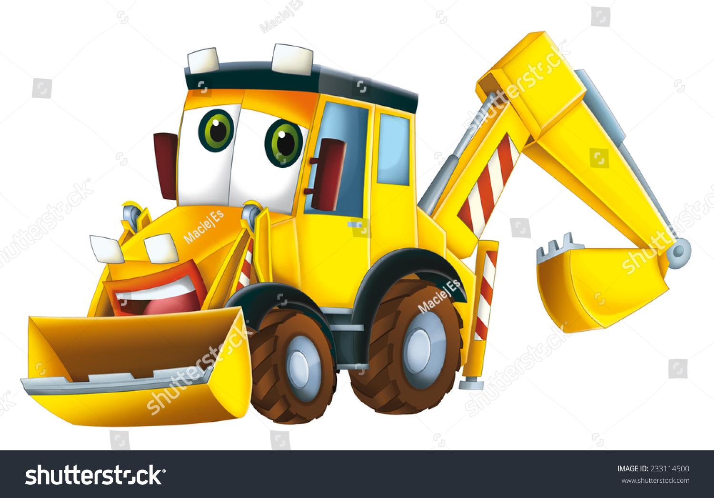 卡通挖掘机-儿童-交通运输,背景/素材-海洛创意()-合.