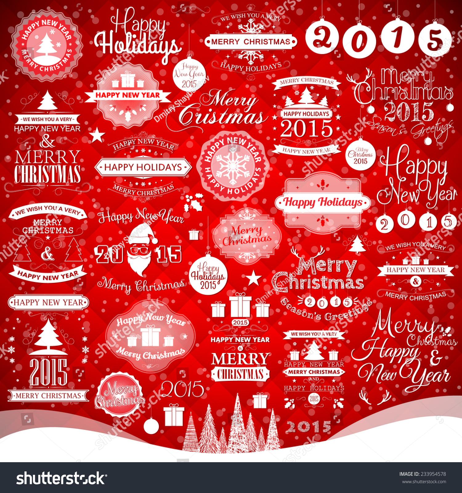 新年快乐,圣诞快乐,节日快乐标签和装饰元素,设计矢量图来度假。海报,贺卡,横幅或邀请。 - 假期,复古风格 - 站酷海洛创意正版图片,视频,音乐素材交易平台 - Shutterstock中国独家合作伙伴 - 站酷旗下品牌