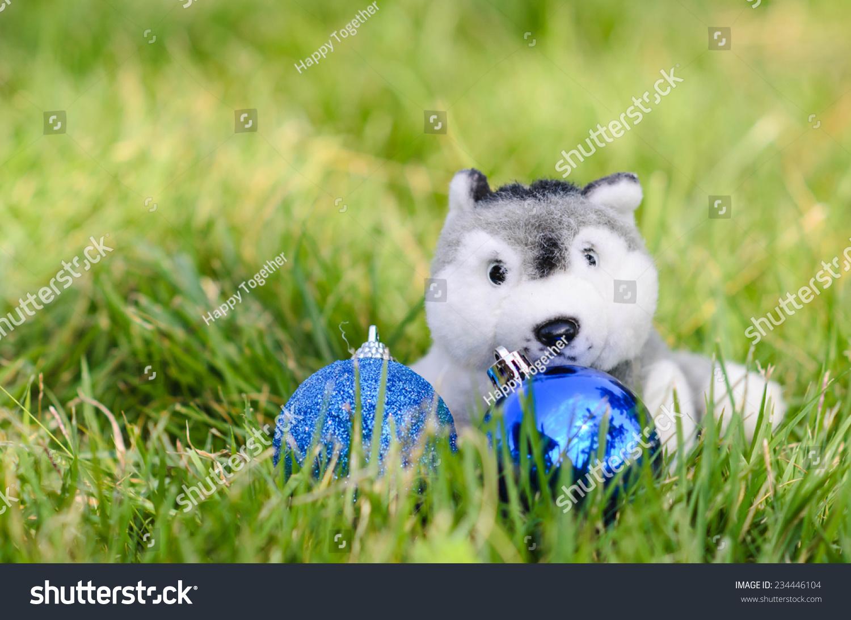 可爱的小狗娃娃与圣诞球在绿草的户外