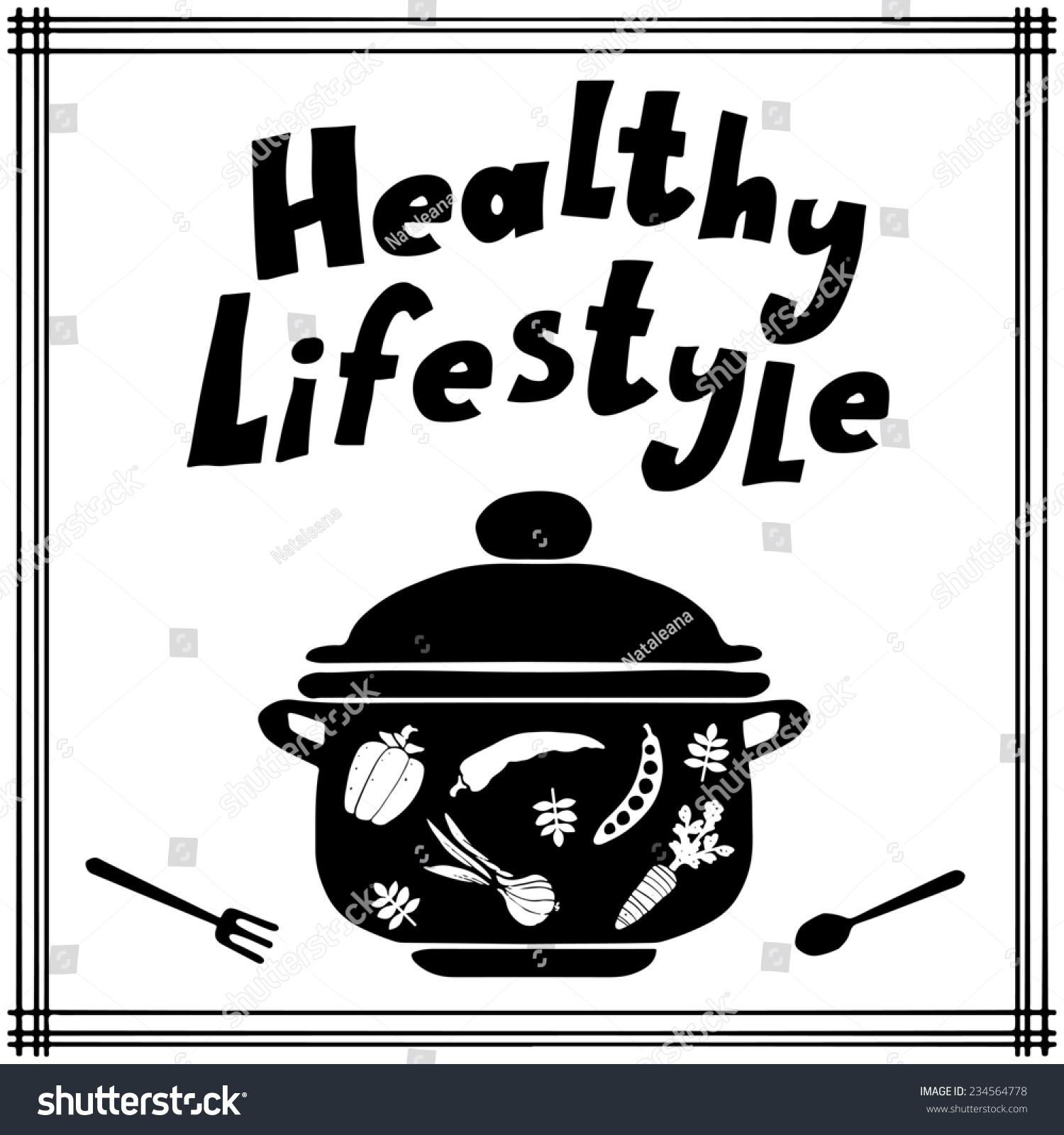 健康的生活方式的背景和图标锅,勺,叉和蔬菜剪影