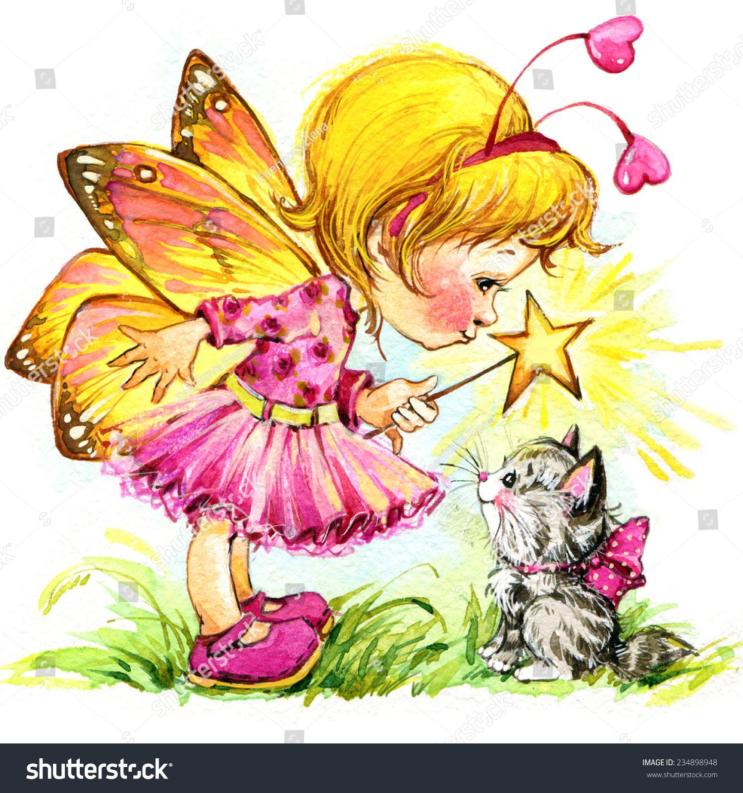 孩子的童话背景.水彩绘画