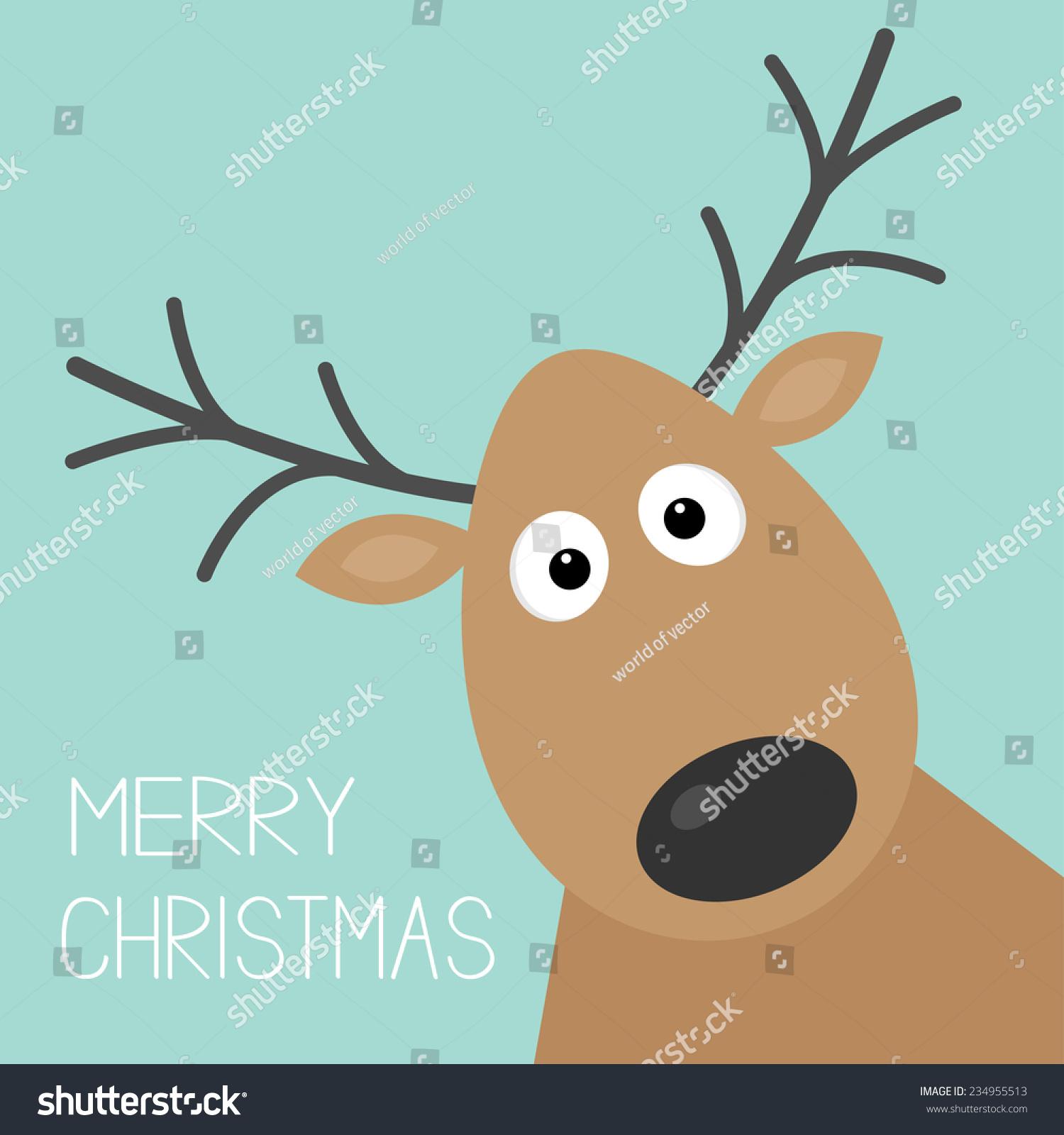 可爱的卡通鹿脸与喇叭圣诞背景卡平面设计-动物/野生