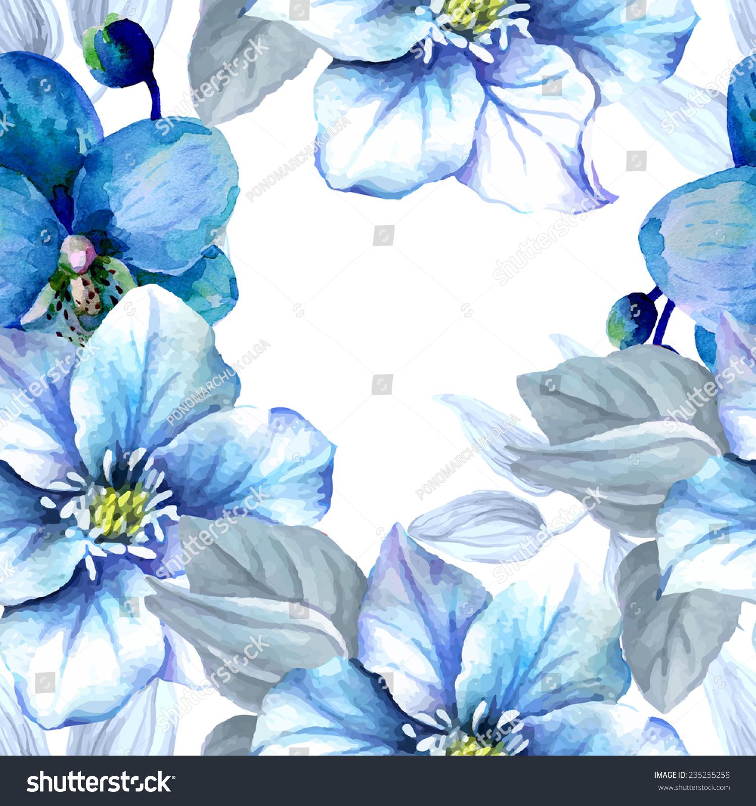 水彩无缝模式与蓝色的花朵.-背景/素材,艺术-海洛创意