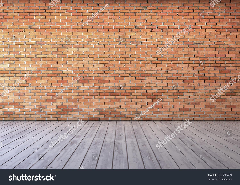 红色的砖墙和木地板-背景/素材