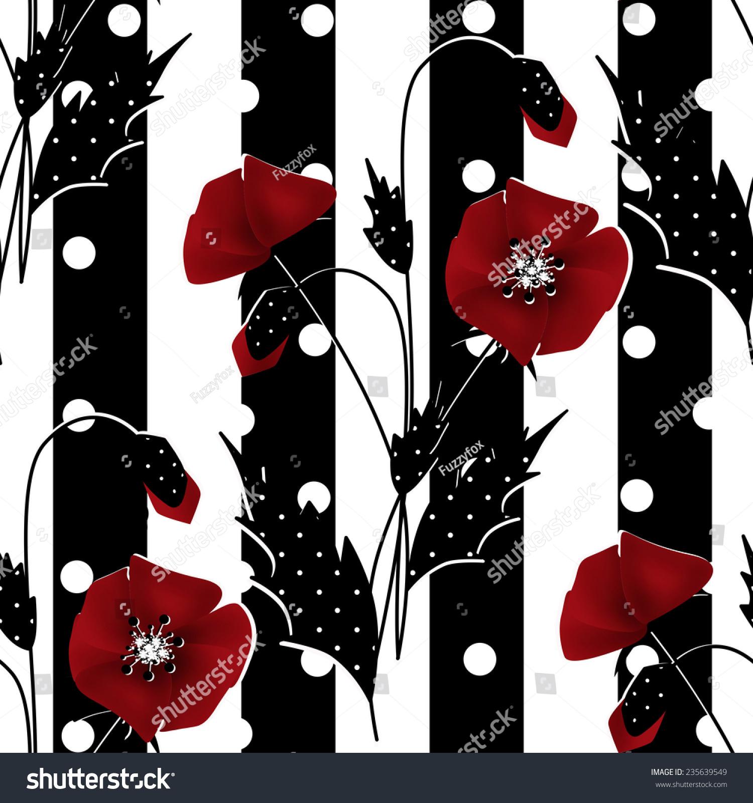 红罂粟花图案的黑白条纹无缝背景-背景/素材,自然-()