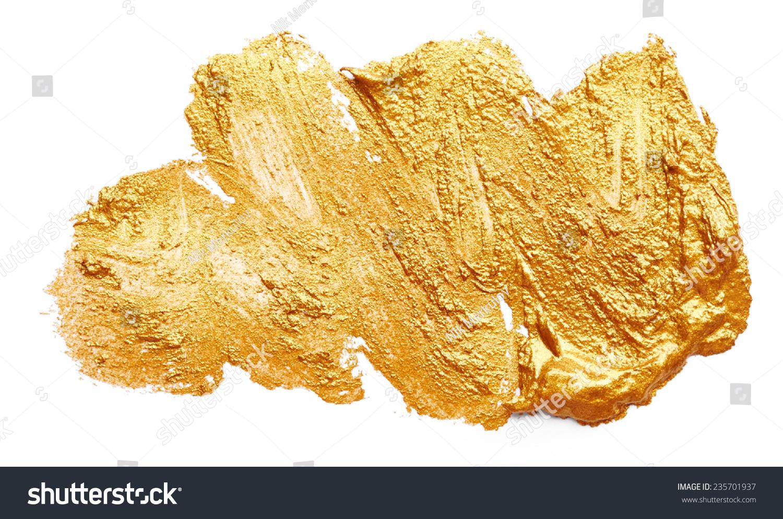 中风的金色油漆孤立在白色背景-背景/素材,艺术-海洛