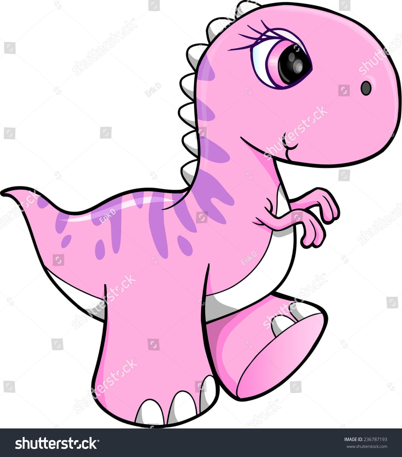 可爱的粉红色的恐龙矢量插图艺术-动物/野生生物