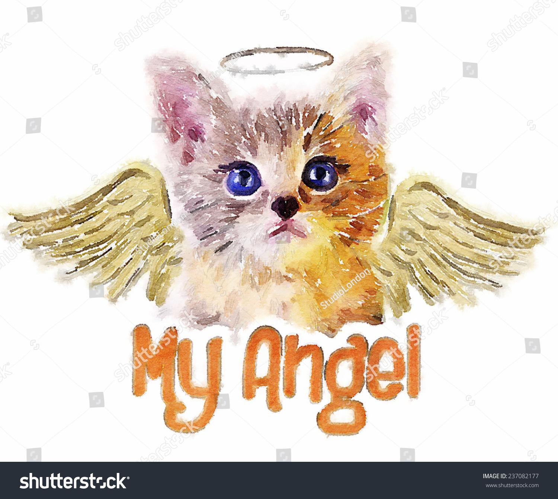 t恤图形/天使猫/猫插图/水彩画-动物/野生生物