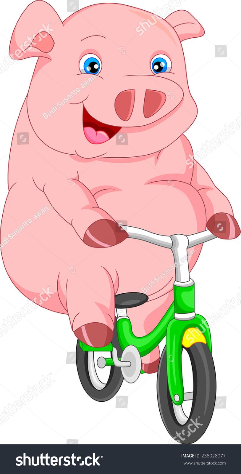 可爱的卡通猪骑自行车