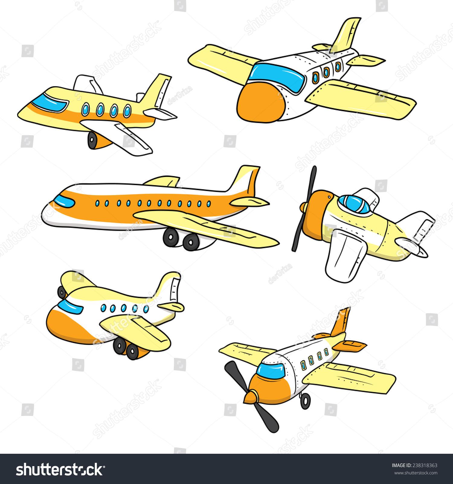 手绘飞机.卡通矢量插图