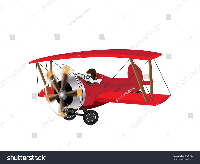 红色男爵bi平面.复古的红色两栖飞机与旋转的螺旋桨