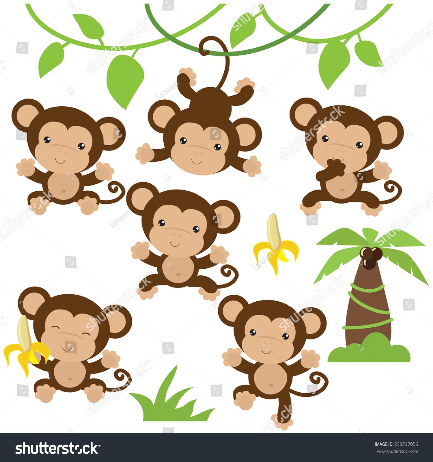 可爱的猴子矢量图-动物/野生生物-海洛创意(hellorf)