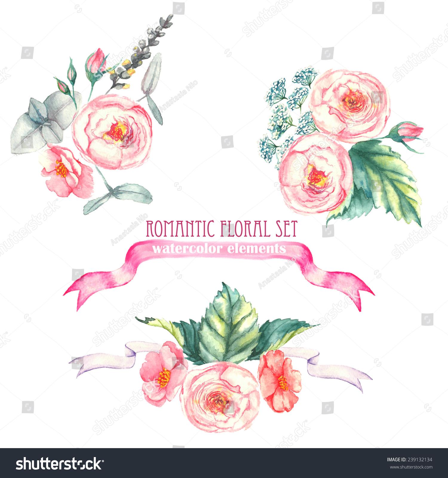 手绘水彩孤立浪漫花香成分与粉色的玫瑰,叶子和其他花