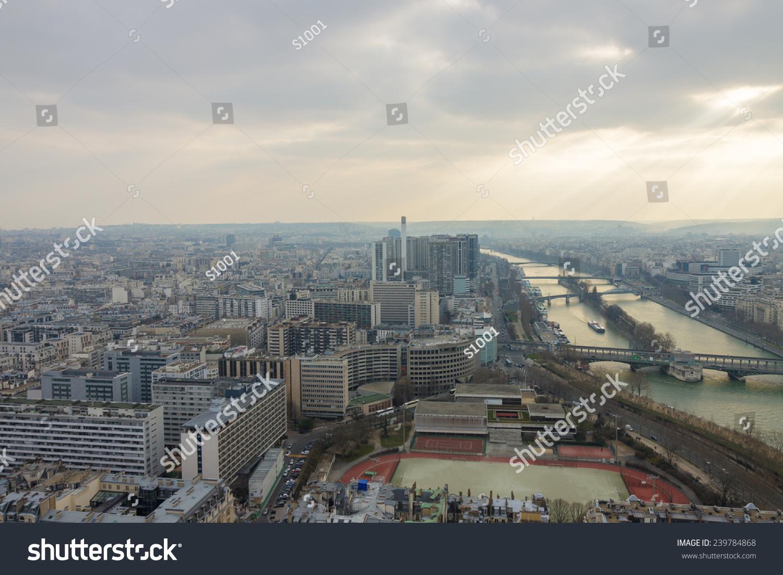 大全景的从埃菲尔铁塔在巴黎塞纳河-建筑物/地标,公园