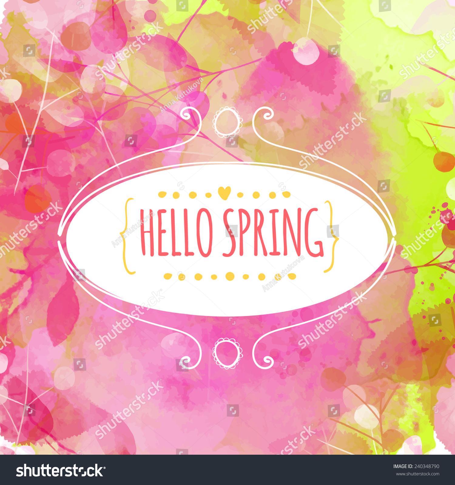 手绘装饰椭圆框与文本你好春天.新鲜的粉红色和绿色和