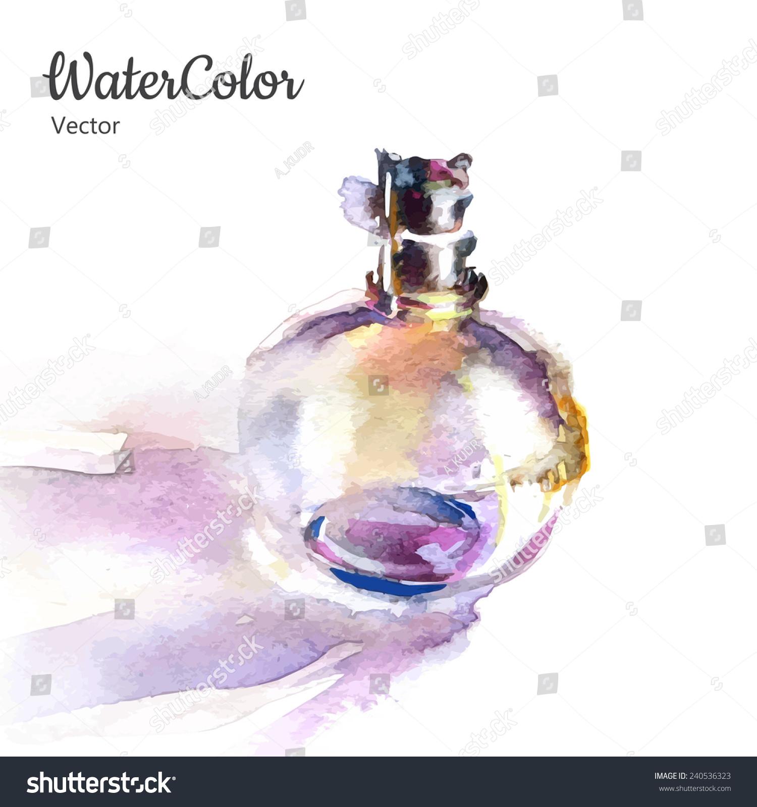 矢量手绘水彩插图的香水瓶.eps10-物体,艺术-海洛创意