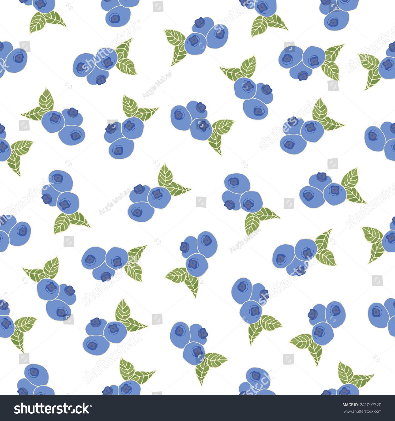 可爱的蓝莓重复背景矢量.蓝莓矢量模式-背景/素材-()