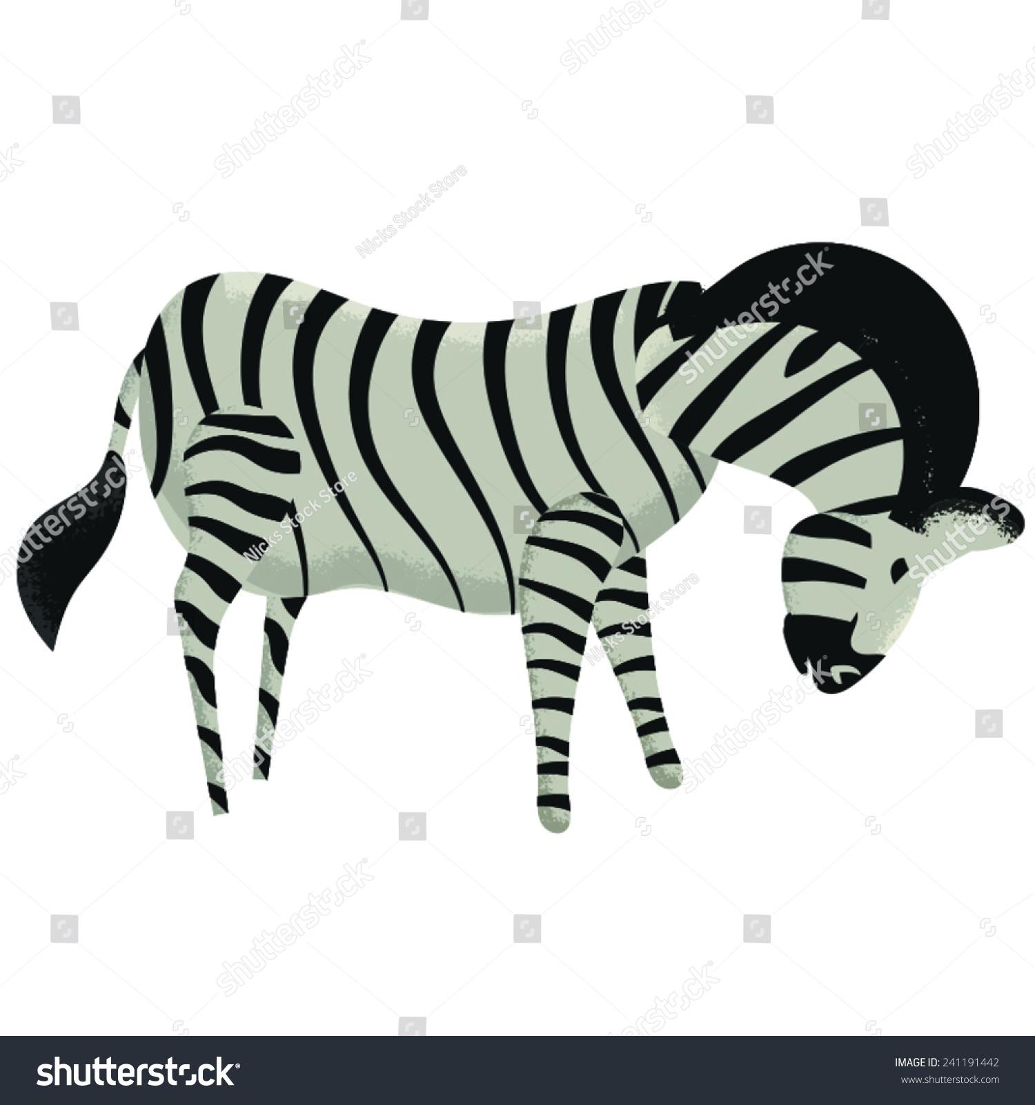 非洲斑马动物看向地面,这是一个非洲斑马条纹.