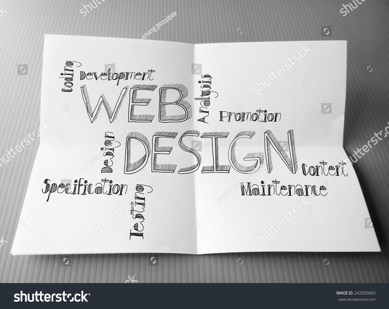 网页设计手绘图皱巴巴的纸上背景的概念-商业/金融
