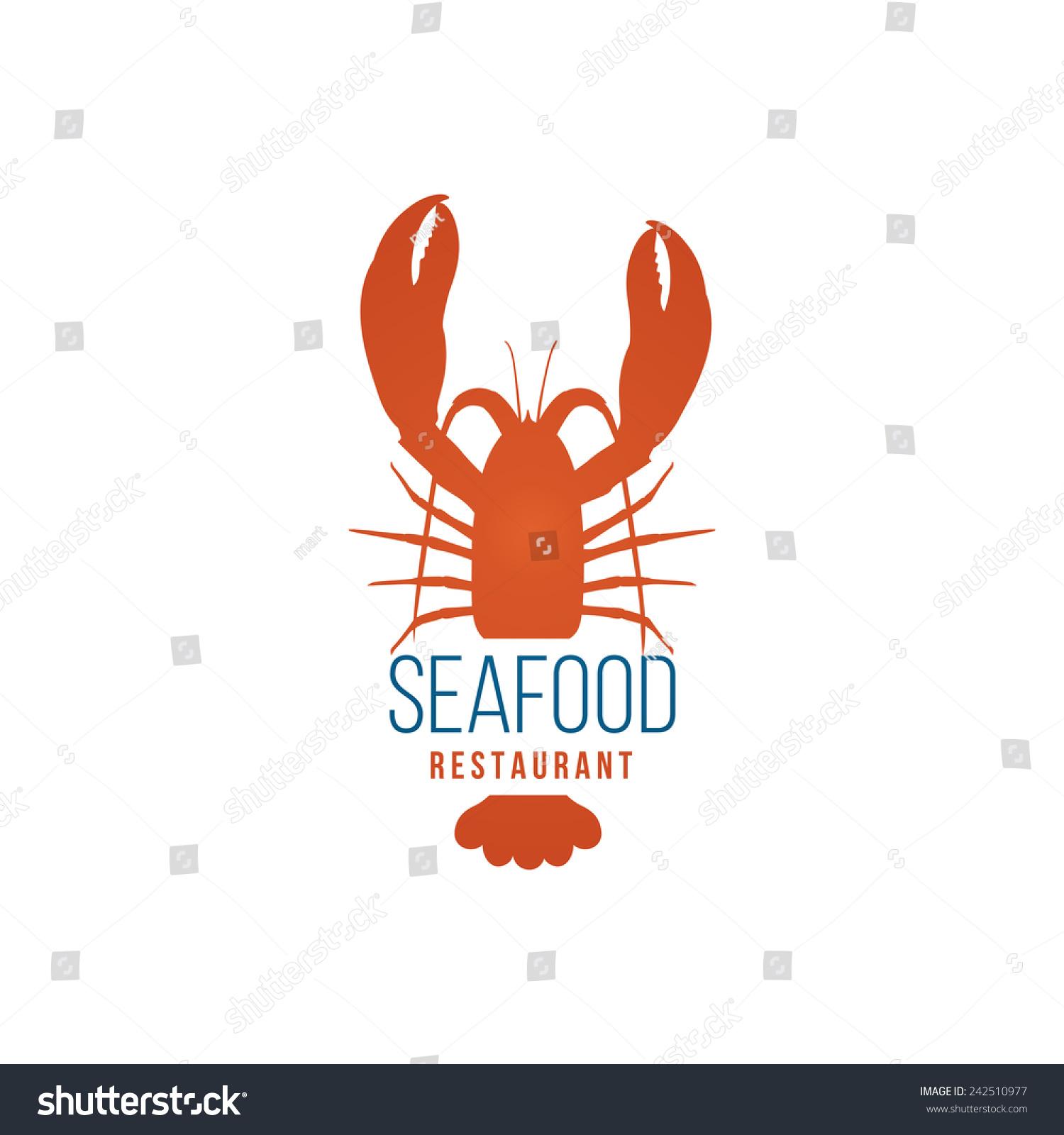 海鲜餐厅标志模板与龙虾的白色背景-食品及饮料