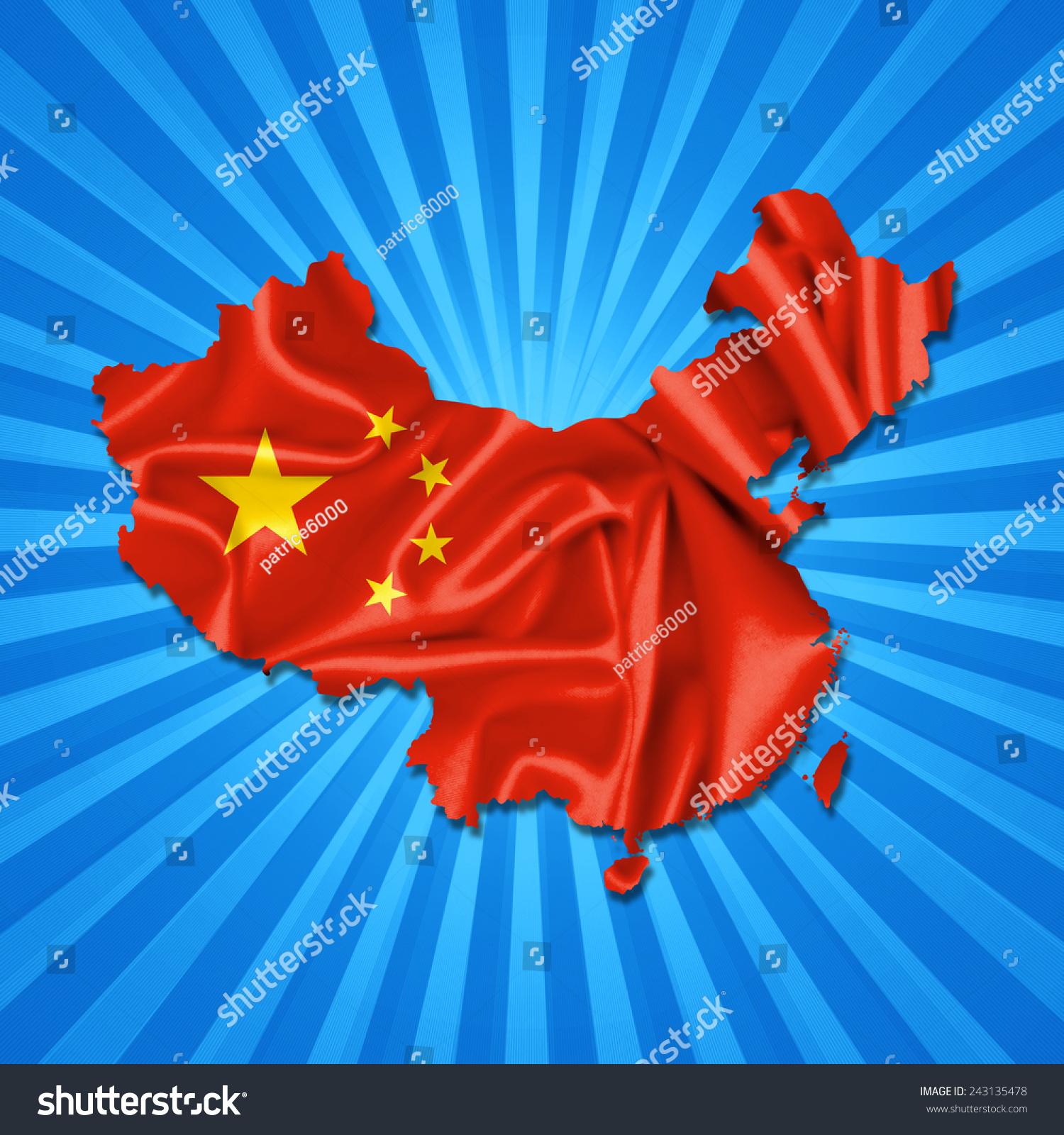 中国国旗,织物和太阳背景图-背景/素材