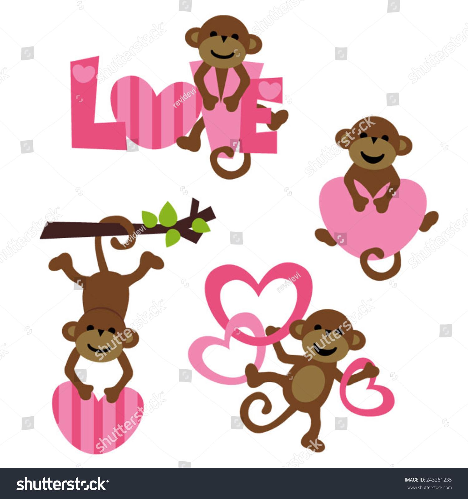 可爱猴子矢量剪贴画.伟大的情人节的设计