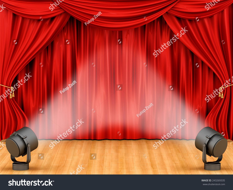 与舞台灯光呈现红色的窗帘-背景/素材