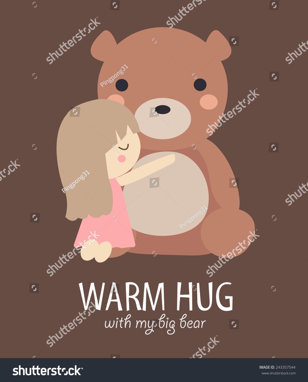 一个小女孩抱着大熊.-动物/野生生物,人物-海洛创意()