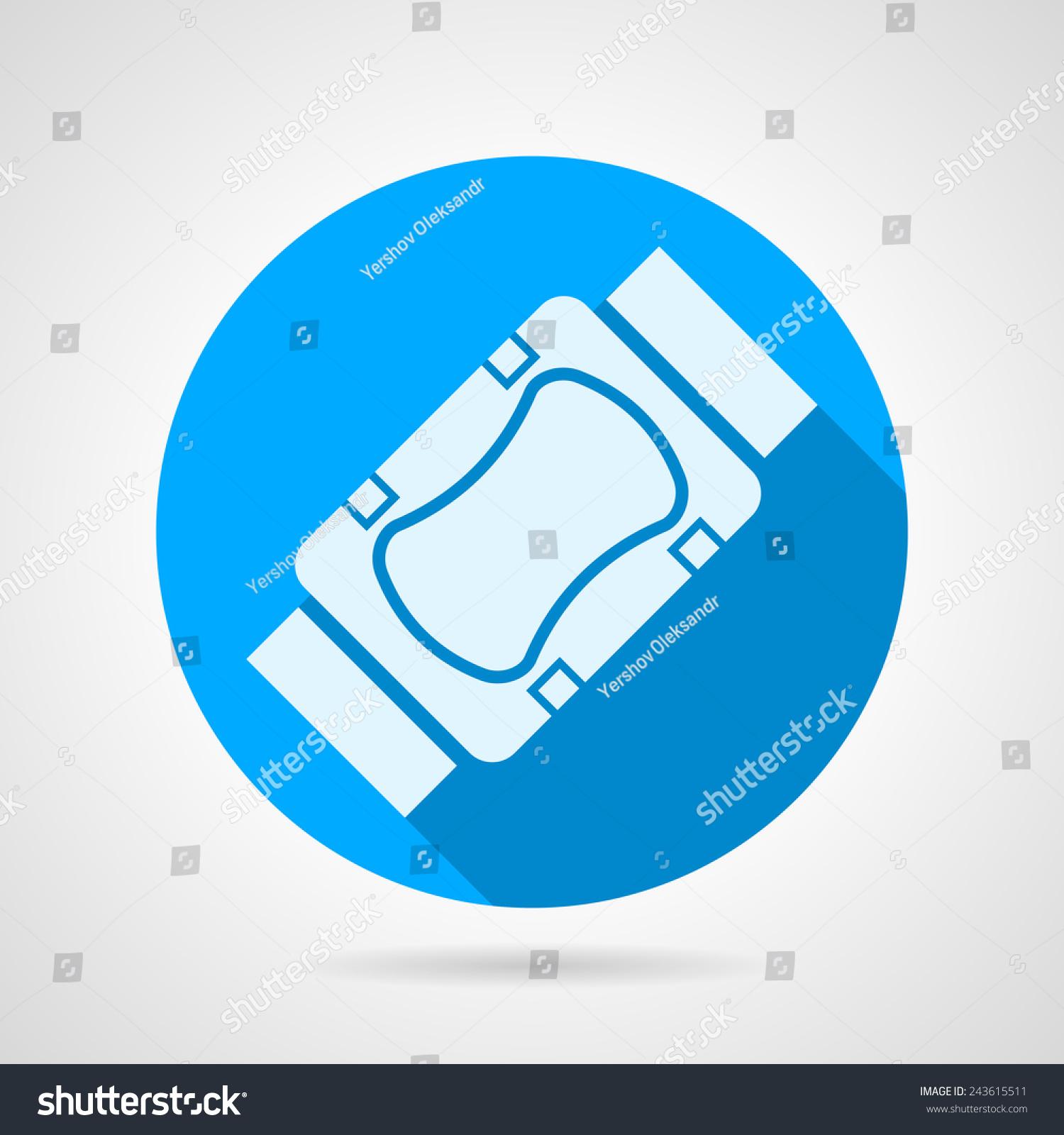 蓝色圆矢量图标与白色