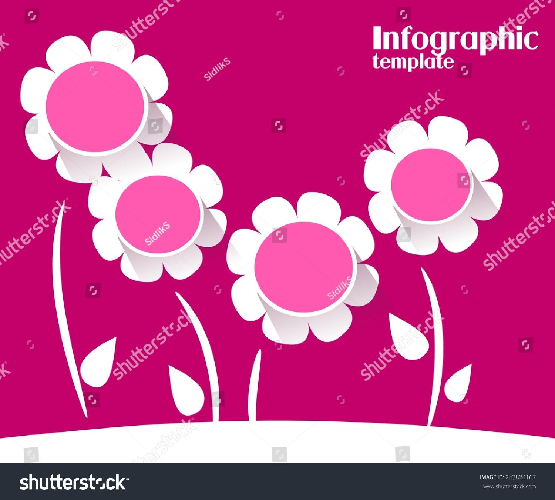 深粉色白色信息图形模板四花-背景/素材