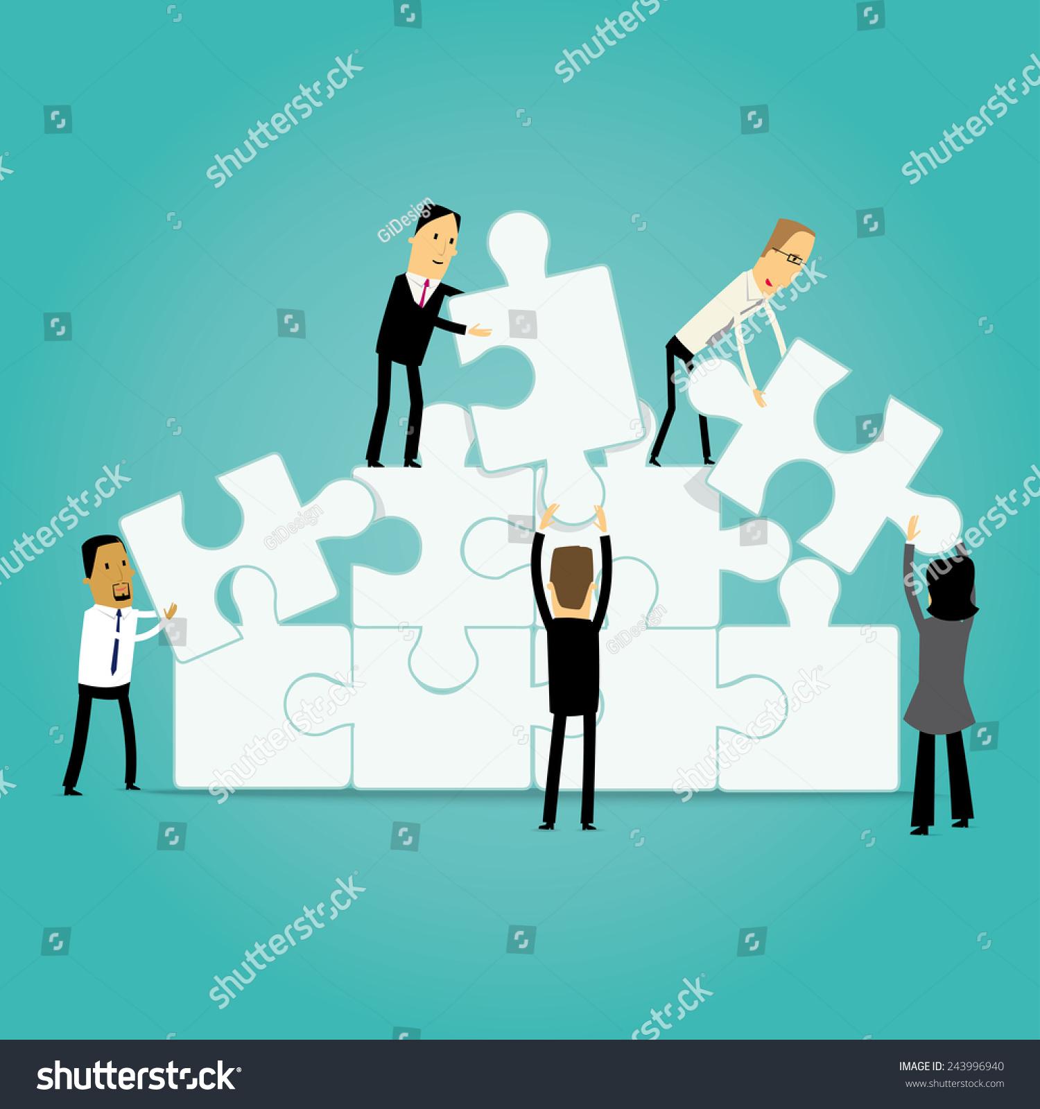 卡通企业的一群人组装拼图玩具-商业/金融,人物-海洛