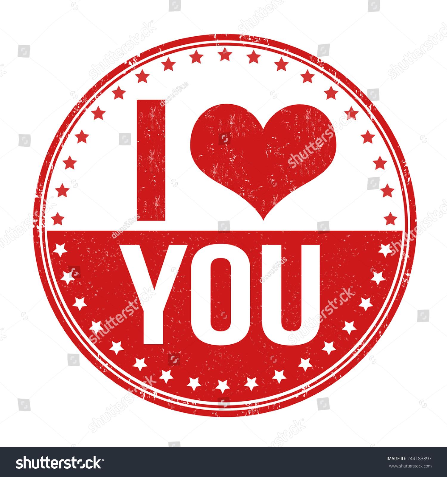 我爱你蹩脚的橡皮图章在白色背景矢量图-符号/标志