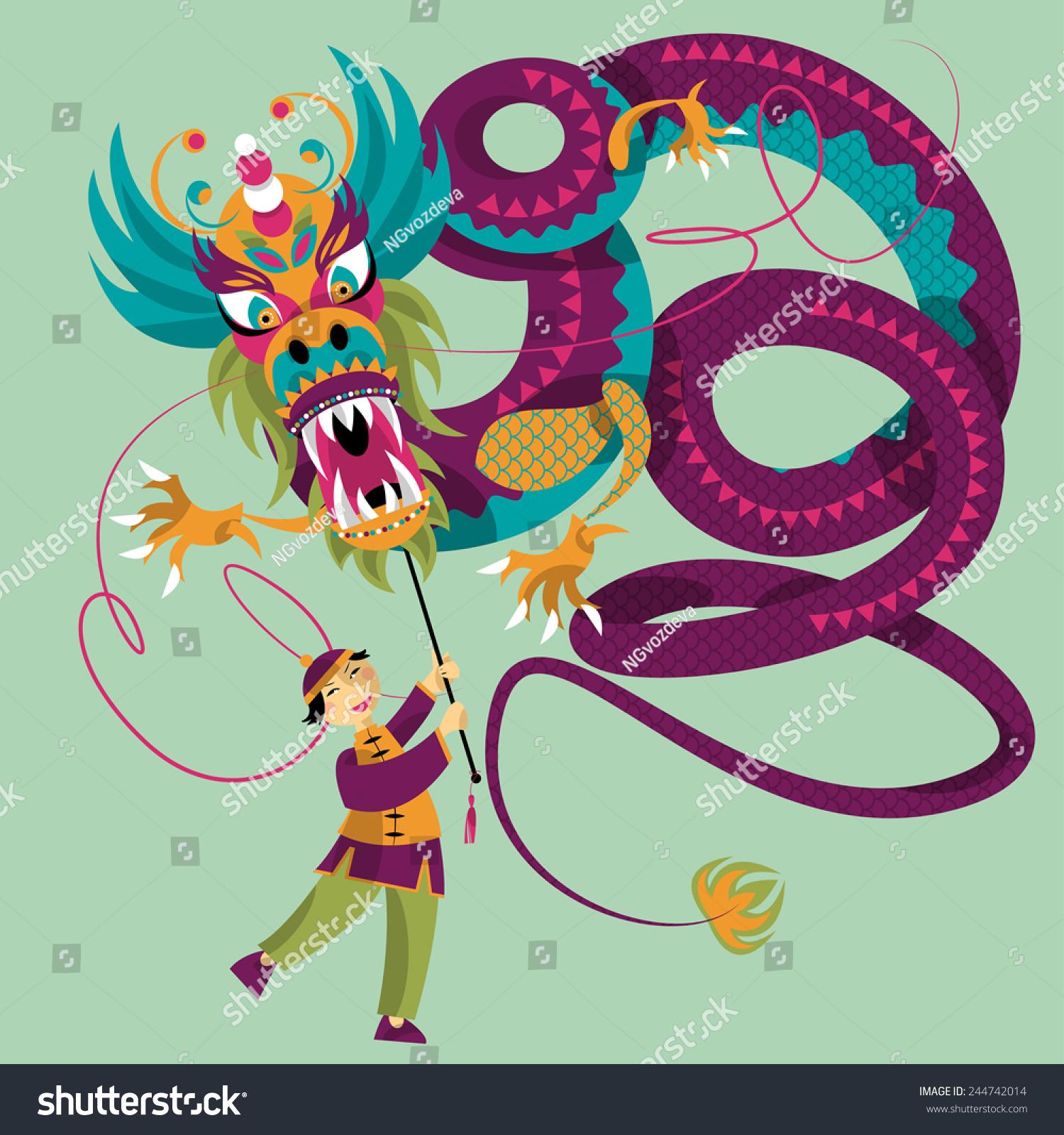中国新年.舞龙.矢量图-动物/野生生物,人物-海洛创意