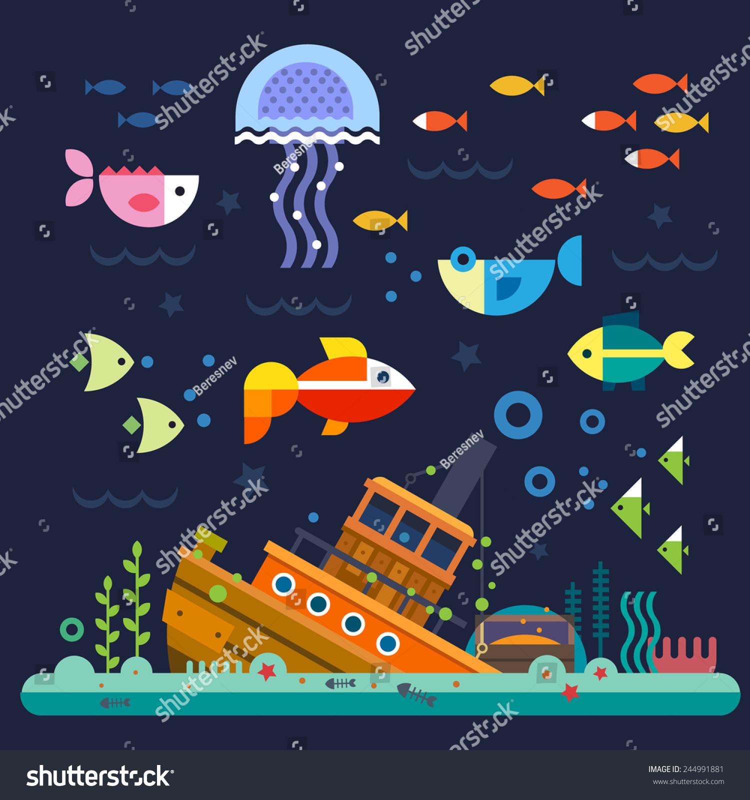 海洋生物.水下世界.鱼,水母,海底,落后的船,藻类,宝贝