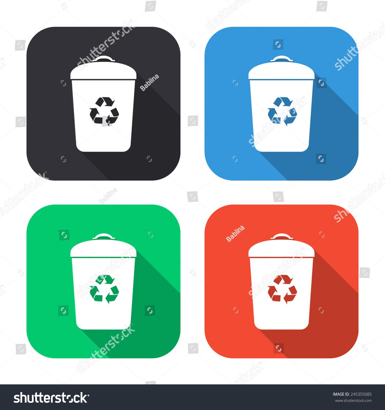 垃圾桶图标——彩色插图(灰色,蓝色,绿色,红色)长长的