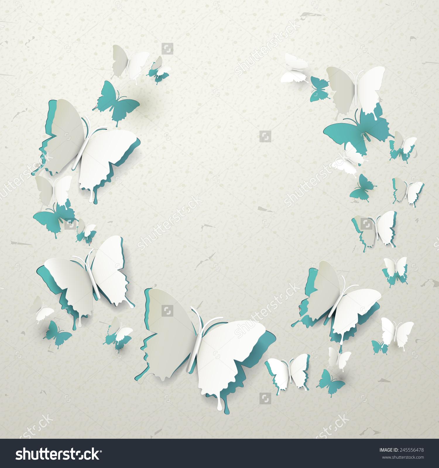 优雅的3 d纸蝴蝶图案断路器背景-背景/素材,抽象-海洛