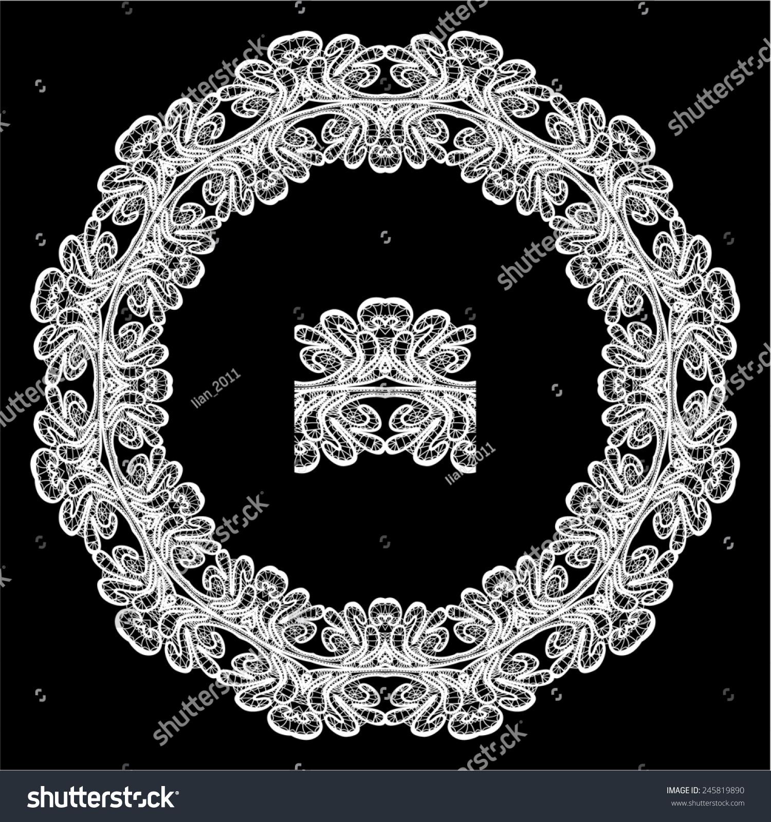 圆形框架-花卉蕾丝点缀在黑色背景白色.光栅版